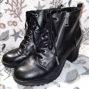 Zip up heel boots with laces